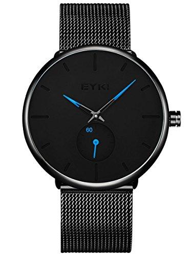 Alienwork Herren Damen Armbanduhr Quarz schwarz mit Metall Mesh Armband Edelstahl Ultra-flach dünn Klassik