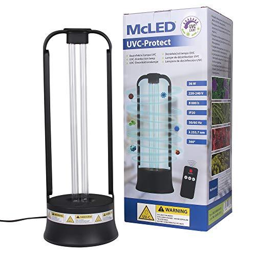 McLED Keimtötende UV-C Lampe mit Bewegungssensor, Timer, Fernbedienung | Wellenlänge von 253,7 nm, 36 Watt | Raumgröße bis zu 40m² (UV-C Lampe)