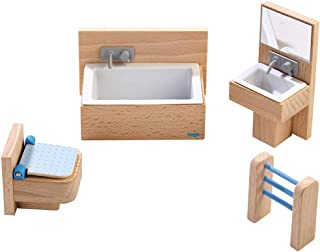 HABA Little Friends Bathroom Set - Wooden Dollhouse Furniture for 4