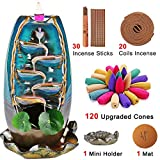 XinXu Incense Burner,5 in 1 Ceramic Backflow Waterfall Incense Holder with 7 Fragrances, Aromatherapy Ornament Home Decor with 120 Cones,30 Stick,20 Coil Incense,3 Artificial Lotus Leaf,1 Cushion