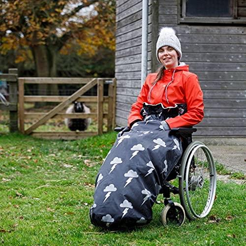 Wasserdichter fleecegefütterter Rollstuhlüberzug | Universelle Passform für manuelle & elektrische Rollstühle | Erwachsenengröße | Leicht anzubringende Rollstuhldecke | Wärme und Behaglichkeit