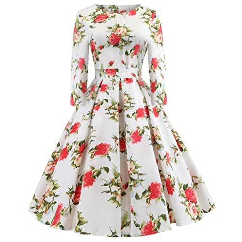 Longra Damen Vintage 1950er Partykleid Rockabilly Kleid Langarm Retro Cocktailkleid Damen Kleider...