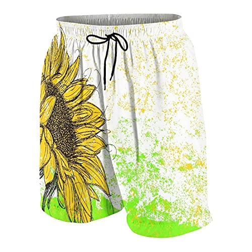 KOiomho Hombres Personalizado Trajes de Baño,Grandes Girasoles de críquet de arbusto Verde,Casual Ropa de Playa Pantalones Cortos