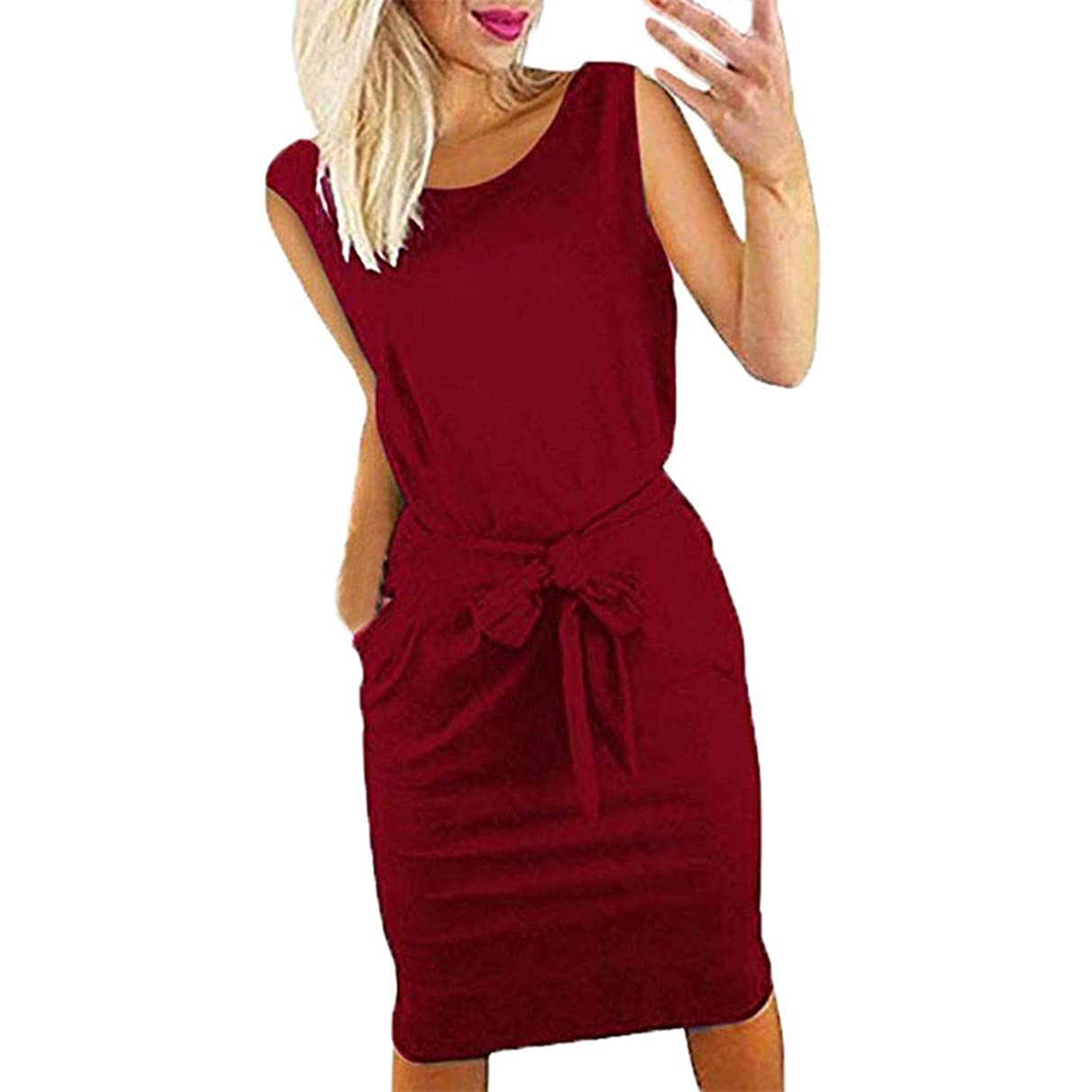 Dress for Women, Summer Sleeveless Casual Solid Bow Wear to Work Fit Office Midi Dresses with Pocket
