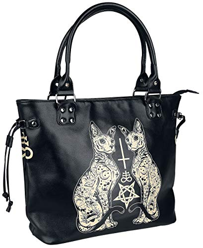 Banned Alternative Esoteric Cat Bag Frauen Handtasche schwarz/weiß