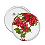 DIYthinker Fleur Poinsettia Bouquet ruban rouge de Noël Ronde Pins Badge Bouton Vêtements Décoration cadeau 5pcs S Multicolore