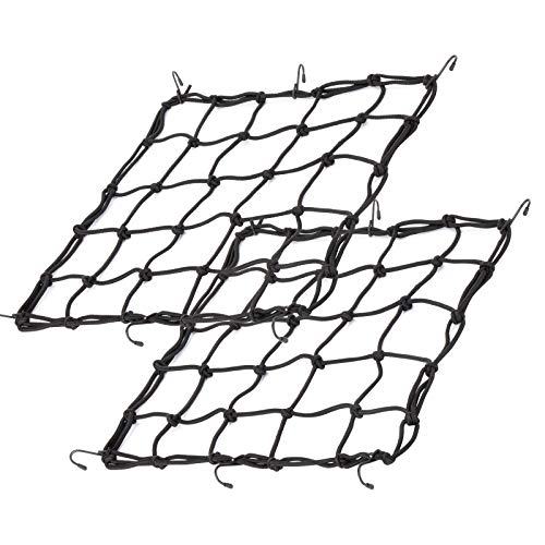 2Pack 157quotx157quot Cargo Net Heavy Duty Bungee Net Stretches to 315quotx315quot Gear Helmet Luggage Thicken Netting with 3quotx3quot Small Mesh amp 6 Adjustable Metal Hooks for Motorcycle Bike ATV Cargo Nets2