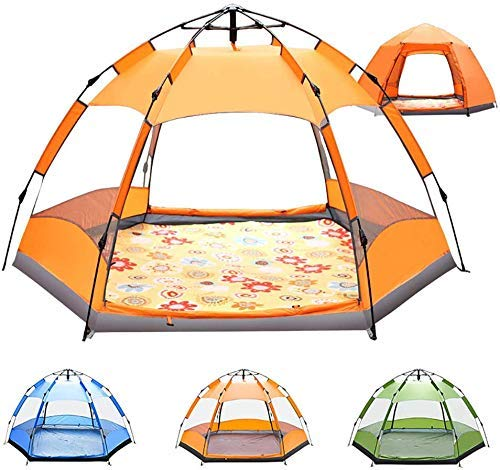 YASE-king 3-4 People Camping Tent - Fully automatic Hexagon Outdoor Sun Shelter Instant Cabana Portable Double Layer Waterproof Shade Canopy for Family Vacation (Color : Orange)