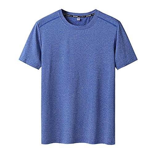 DamaiOpeningcs Camiseta de secado rápido, para hombre, punta redonda, manga media, súper suave, elástica, azul, 4XL
