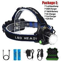 8000LM LEDヘッドランプヘッドライト防水ヘッド懐中電灯額ヘッドライトトーチ狩猟採掘釣りライト (Body Color : T6 LED, Emitting Color : Option C)