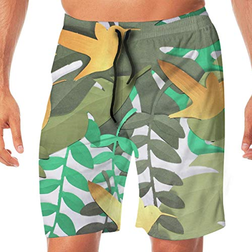 Surce Jungle Party Leaves Birds Palm strandshorts van elastische kant, sneldrogend, voor strand, zwembroek met tassen.