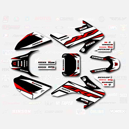Black White Red Shift Graphic Kit fits Honda 04-19 CRF50 Shroud Decal CRF 50 Sticker pitbike