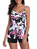 Century Star Women's Tankini Swimsuits Bathing Suits for Women Tummy Control Two Piece Swimming Suit Ladies Swimwear White Pink Floral 16-18