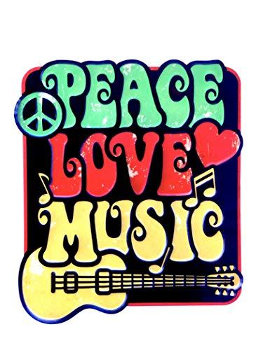 DiiliHiiri Cartel de Chapa Placa Retro Letrero Estilo Vintage Metal para Decoración Hogar (Peace, Love, Music)