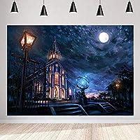 写真のための魔法の城の背景9x6ft / 2.7x1.8mおとぎ話の月の青い夜の背景子供をテーマにしたBdayパーティーの装飾用品の写真撮影の小道具BJLSST82