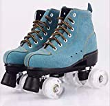 New Green Suede Skates Adult Children Double Row Skates Night Skates Roller Skates Flash Wheel 8 2