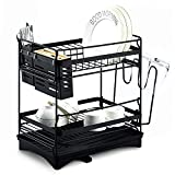 "Glotoch Dish Drying Rack, Stainless Steel 2 Tier Dish Rack with Utensil Holder,knife holder,Cup Holder&Cutting Board Holder and Drainboard set for Kitchen Counter,Dish Drainer 14 x 9.5 x 14.5"" Black"