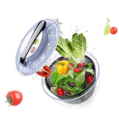 ZJZ - Escurridor de ensalada fácil de girar, limpiador grande de verduras, secadora de verduras, mango giratorio compacto que permite un fácil almacenamiento