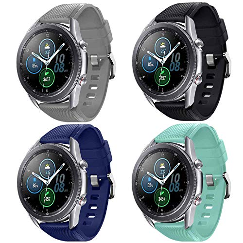 Abincee 4-PACK Bands Compatible with Galaxy Watch 3(45mm)/Gear S3 Frontier/Galaxy Watch(46mm),22mm bands with quick release pin for Galaxy Watch 3(45mm) Men Women (Black/Navy Blue/Teal/Gray)