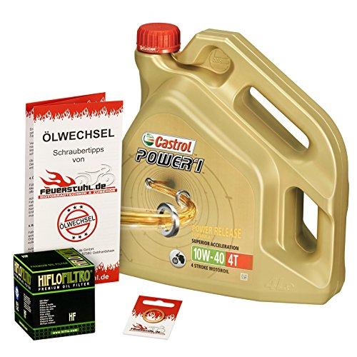 Castrol 10W-40 Öl + HiFlo Ölfilter für Suzuki KingQuad 400 (LT-A/LT-F), 08-15 - Ölwechselset inkl. Motoröl, Filter, Dichtring