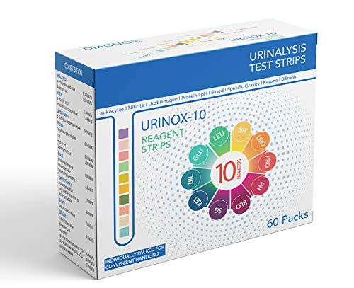 Urinox10 Urine Test Strips for Urinary Tract Infection (UTI) | Individually Packed, Accurate, Easy with Mobile App | Get Medical Grade Urinalysis at Home | 60 Pack