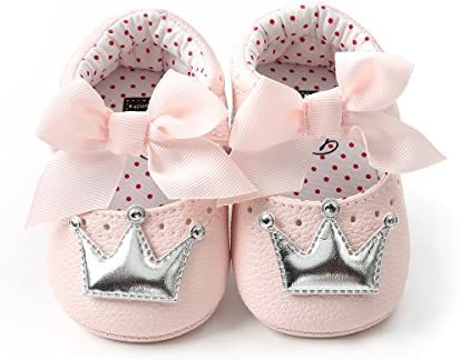 Meckior Infant Baby Girls Crown Mary Jane Soft Sole Bowknot Princess Shoes Newborn Prewalker product image