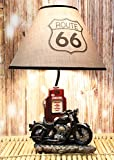 Ebros Vintage Old Fashioned Retro Black Motorcycle by Classic Gas Pump Desktop Table Lamp 19'Tall Nostalgic Highway Route 66 Road Runner Home Decor Shelf Mantlepiece Lighting Accent