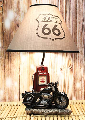 """Ebros Vintage Old Fashioned Retro Black Motorcycle by Classic Gas Pump Desktop Table Lamp 19""""Tall Nostalgic Highway Route 66 Road Runner Home Decor Shelf Mantlepiece Lighting Accent"""