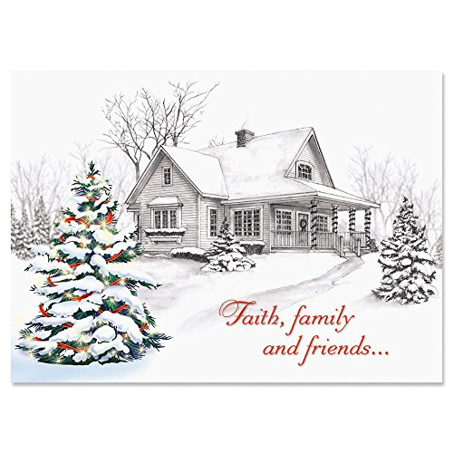 Winter Home Religious Christmas Cards � Holiday Greetings, Includes Bible Verse, Set of 18 Cards and Envelopes, by Current