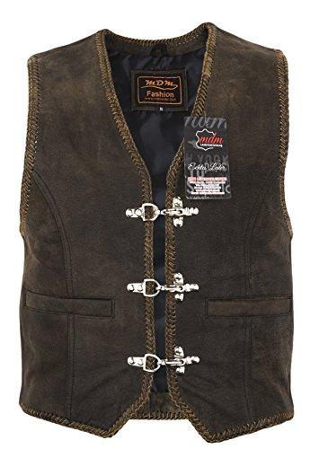 Lederen vest in bruin met koorden, rocker-vest zonder zijkoord, bikervest met gespen, club-vest zonder middennaad, motorvest