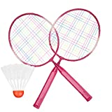 <span class='highlight'><span class='highlight'>TOPINCN</span></span> 2 Pair Of Badminton Rackets Cartoon Lightweight & Sturdy Practice Badminton Racquets for Kids Training Practice Included 1 Round Ball, Badminton Ball,Feather Ball(Red)