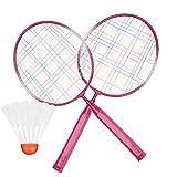 Bambini Racchetta da Badminton Durevole Racchetta Professionale Set con Badminton Palla Leghe di Nylon per Bambini Giocattoli All'Aperto(Rosa)