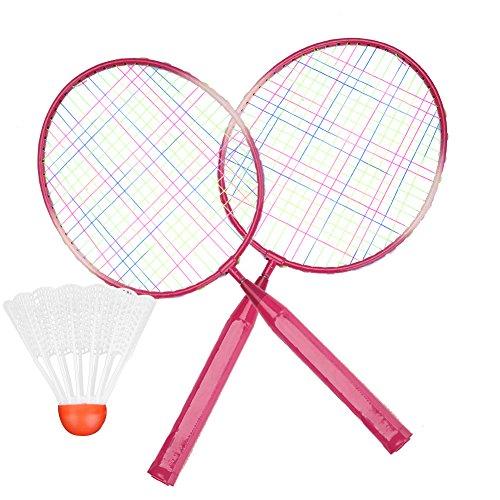 Raqueta de bádminton, 2 Colores Aleación de Nylon Duradera Raqueta de bádminton Juego de práctica de Entrenamiento para niños Deporte Interior/Exterior(Rojo)