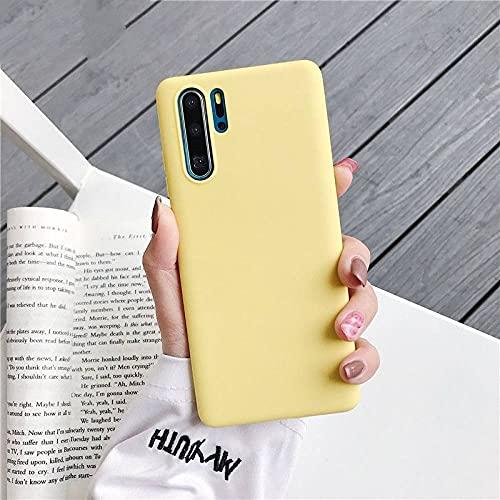 Caja del teléfono de Silicona de Color Caramelo para Huawei p30 Lite Pro p20 Lite p10 p Smart Plus z 2019 2018 Cubierta Trasera de TPU Suave Mate, Amarilla, para p30 Pro