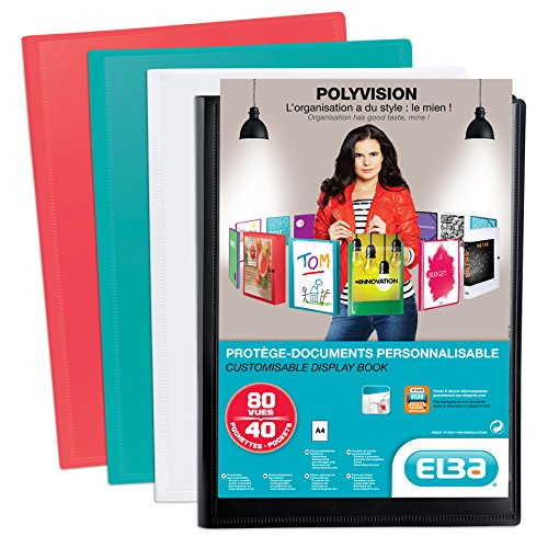 Oxford Protège-Documents Polyvision A4 Porte Vue 80 vues / 40 Pochettes Couverture Polypro Opaque Coloris Assortis