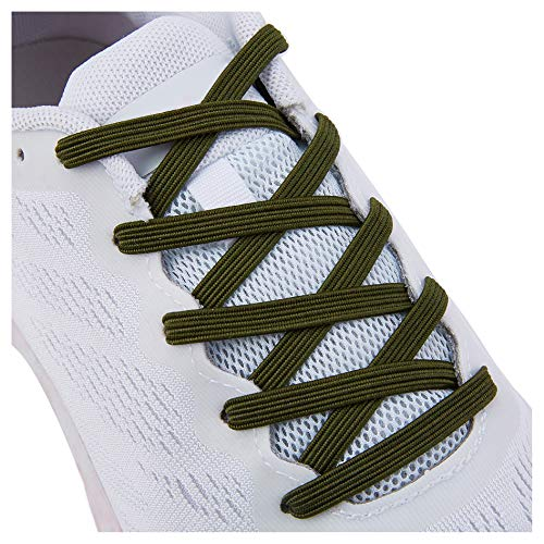 No Tie Tieless Shoe Laces for Adults Kids Shoes , One Size Fits All Elastic Shoelaces for Sneakers Army Green
