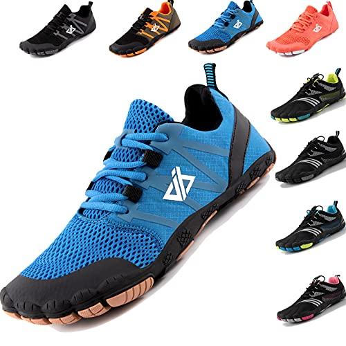 JACKSHIBO Barfußschuhe Barfussschuhe Herren Damen Minimalistische Traillaufschuhe Zehenschuhe Atmungsaktiv Laufschuhe Fitnessschuhe Wanderschuhe Straßenlaufschuhe Joggingschuhe (Blau,44EU)