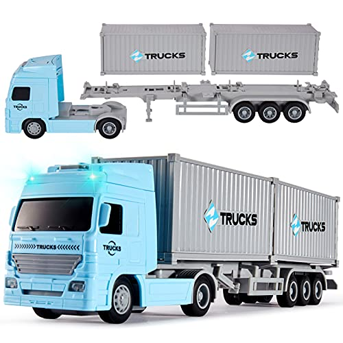 HERSITY Camión Contenedor Transporter Juguetes con Luces y Sonidos Coche de fricción Educativo Regalos para Niños Niñas de 3 4 5 6 Años