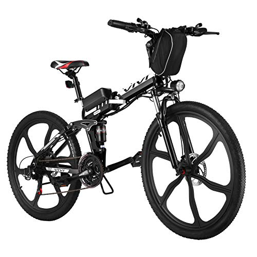 """VIVI Folding Electric Bike Electric Mountain Bike 26"""" Lightweight Electric Bicycle 350W Ebike, Electric Bike for Adults with Removable 8Ah Lithium Battery,Professional 21 Speed Gears (26inch-Black)"""