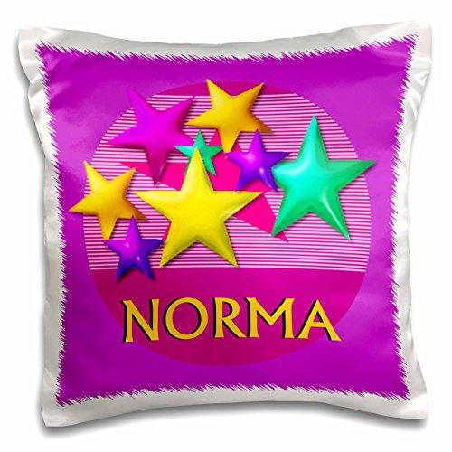3dRose Vibrant farbigen Sterne auf einem rosa Hintergrund mit dem Namen Norma-Pillow Fall, 16von 40,6cm (PC 53038_ 1)
