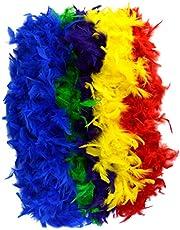 Jerbro Boa de plumas de colores suaves para mujer, niña, fiesta, cumpleaños, carnaval, despedida de soltera, 2 metros