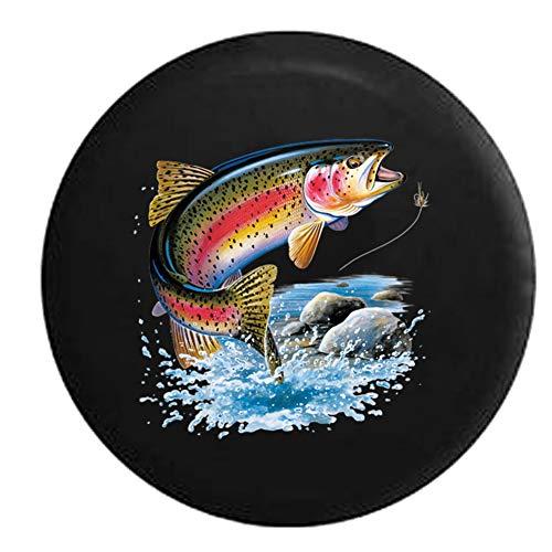 Bandenhoes regenboog forel de rivier - vliegen vissen lokken kleurrijke duurzame band diameter afdrukken universele 4 maten waterdichte bandenhoes voor trailer jeep suv rv 15in/70~75cm 1 exemplaar