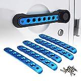 Xprite 5 Pcs/Sets Brushed Aluminum Door Grab Handle Inserts Cover Trim for 2007-2018 Jeep Wrangler JK & Unlimited 4 Door-Blue