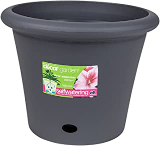 Décor Four Seasons Self-Watering Plant Pot, 33.6cm Pewter, 1, Piece