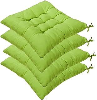 AGDLLYD 4 cómodos Cojines para Silla, Cojines de Silla Exterior,Cojines de terraza,Cocina de jardín Cojines de Silla de Comedor 40x40x5cm Crema Cena Silla Pad (Verde Claro)