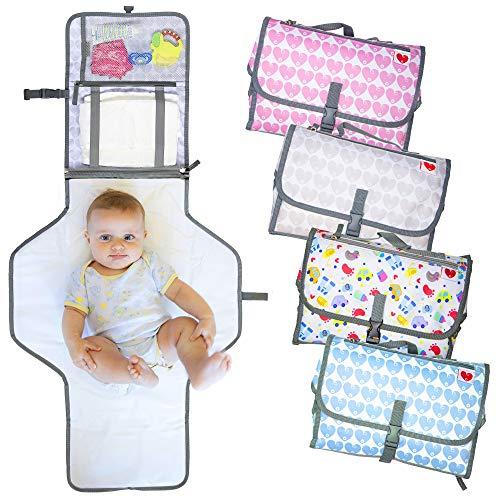 Fasciatoio Portatile Pieghevole da Viaggio, NUOVO MODELLO 2020, Borsa Fasciatoio per Cambio Pannolino Materassino e Cuscino Adatto a Neonati e Bambini