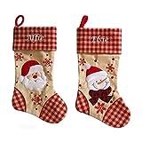 Jia Hu - 2 calcetines de Navidad personalizables bordados para botas de Papá Noel