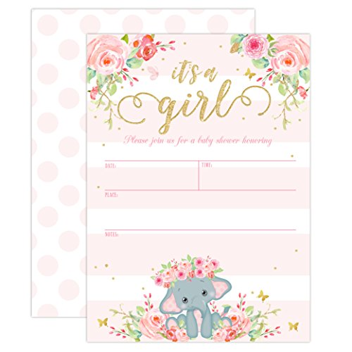 Elephant Baby Shower Invitation, Girl Pink Elephant Baby Shower, Jungle Baby Girl Shower Invite, It's a Girl, Baby Sprinkle Invite, 20 Fill in Invitations and Envelopes