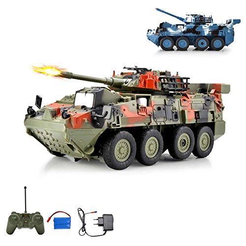 HSP Himoto Leopard RC Ferngesteuerter Kampfwagen Militärfahrzeug Panzer mit Reifen, Schusssimulation und Drehbarem Turm um 180°, Fahrzeug, Komplett-Set Ink. Fernsteuerung, Akku und Ladegerät