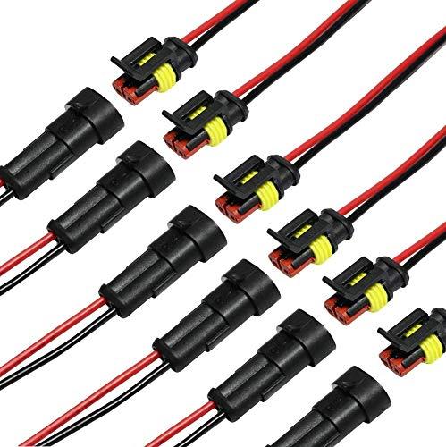 Auto Wasserdichter elektrischer Steckverbinder, 2 pin Stecker Autoelektrischer Kabelverbinder mit Kabel 16 AWG Marine für Auto, LKW, Boots- und andere Kabelverbindungen. (6 Pack)